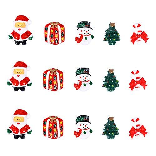 Ultnice Miniatur-Weihnachtszubehör, Kunstharz, Schneemann, Weihnachtsbaum, Candy Cane