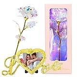 Flores Artificiales con Tiras de Luces LED, Galaxy Rose 24K Gold Rose Regalos para Mujeres, Regalos de San Valentín con Marco de Fotos, Decoración de Bodas