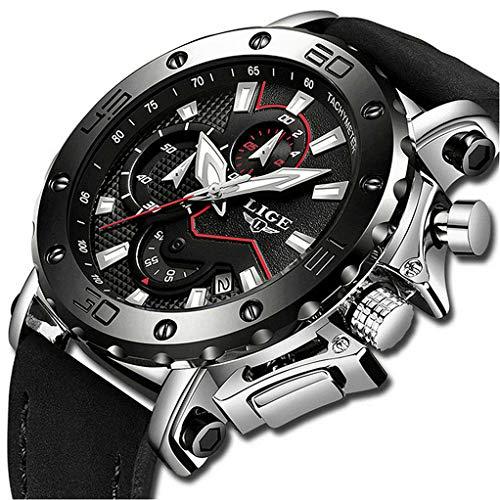 LIGE Relojes Hombre Moda Impermeable Deportivo Cuarzo Relojes de Hombre Cronógrafo Casual Negro Cuero Reloj de Pulsera