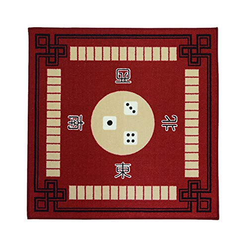 "Exclen Universal Mahjong/Paigow/Card Table Cover, Slip Resistant Mat 31"" x 31"" (78cm x 78cm) (Red)"