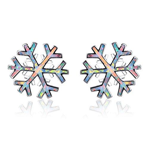 Fiocco di neve design bianco opale di fuoco Silverl orecchini OE686