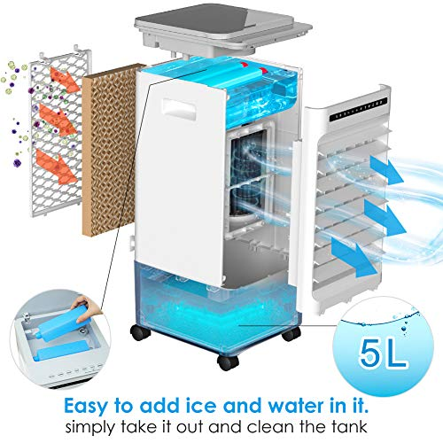 SUPALAK 5-in-1 Evaporative Air Cooler, Mini Air Conditioner  Fan  Humidifier  Purifier  Negative ions,3 Modes,3 Fan Speeds,LED Display,Remote Control,7H Timer,7L Water Tank