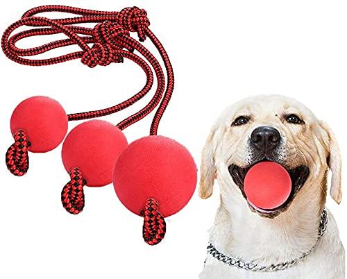 LHKJ 3 Stück Wurfball Hund, Hundespielzeug Ball mit Seil, Hundeball Spielzeug für Kleine Hunde Welpen