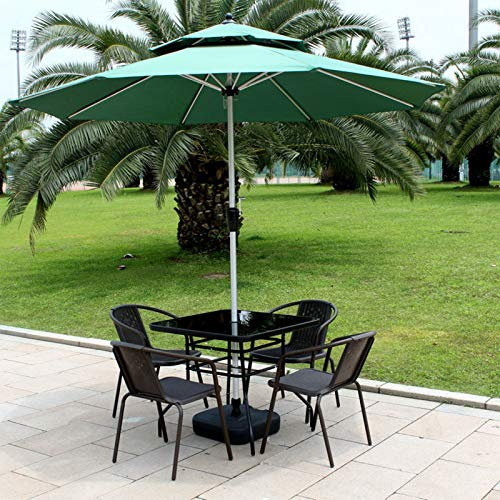 ERLAN Parasol Jardin Verde Sombrilla de Patio para Sillas de Mesa de Centro, Sombrilla de 270cm con Sistema de Elevación de Manivela, Patio Interior Parasol de Playa