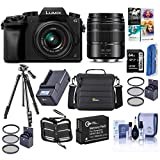 Panasonic Lumix DMC-G7 Mirrorless Camera with Lumix G Vario 14-42mm and 45-150mm Lenses Lens, Black - Bundle with Camera Case, 64GB SDXC U3 Card, Spare Battery, Tripod, Software Package, and More