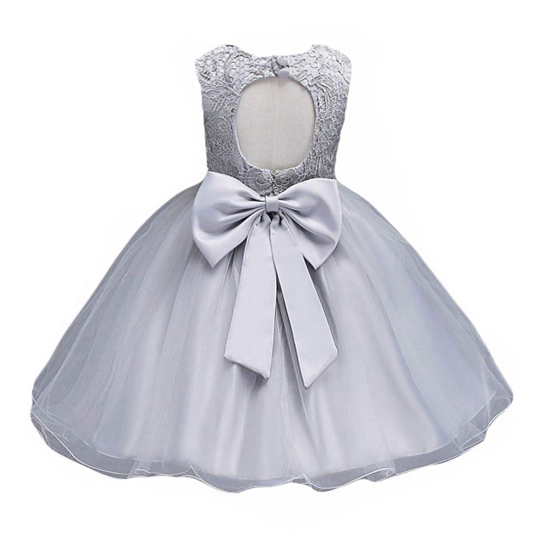 21キッズベビーガールズチュールレース花ブライズメイドドレスバックレスドレスで弓パーティーウェディング