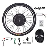 Viribus Kit de Conversión para Bicecleta Eléctrica 48V 1000W Kit de Conversión de Bicicleta Electric para Rueda Delantera 26Pulgadas Bike Conversion Kit con Controlador de Modo Dual