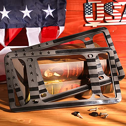 Aujen Silicone American Flag License Plate Frame 2 Packs, USA Flag License Plate Covers Without Obstruction, Black License Plate Holder, Side-Opening Design, Rust-Proof & Rattle-Proof & Weatherproof.