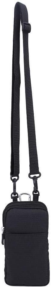 SOONHUA Mobile Phone Bag, 3 Layers Storage Zipper Shoulder Bag