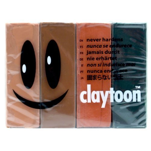 4 Assorted Colors Claytoon 228051 Oil Based Modeling Clay Set