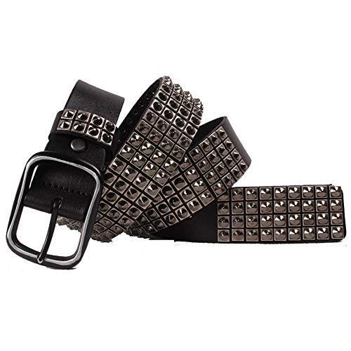Liuzecai Cinturón de Remache de Diamantes de imitación Cinturón Spike Punk de Cuero para Hombre, Capa Superior, Palabra Japonesa Hebilla (Size : 125cm)