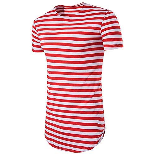 T-Shirt Hombre Manga Corta Verano con Cuello Redondo A Rayas Hombre Shirt Básica Slim Fit Cómoda Hombre Shirt Ocio Moda Transpirable Playa De Arena Hombre Ropa De Calle A-Red XXL