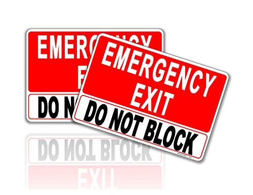 Emergency Exit Do Not Block Sign Stickers 2 Pcs. 7 in x 10 in. – UV Protected, Weatherproof, Indoor/Outdoor Vinyl Self Adhesive Vinyl Adhesive Signs