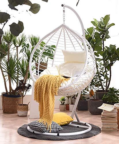 L'effetto di appendere uovo sedia rattan/ruotabile dondolo poltrona pensile interno ed esterno terrazza con giardino uovo sedia amaca,White