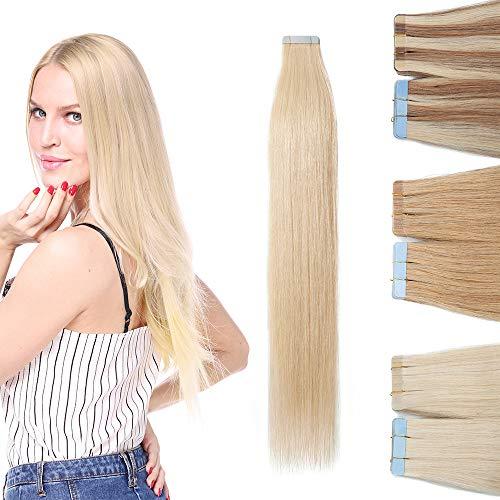 "10 Pcs Extension Adhesive Naturel Rajout Vrai Cheveux Humain Bande Adhesive Lisse (#60 Blond platine, 22""(55cm))"