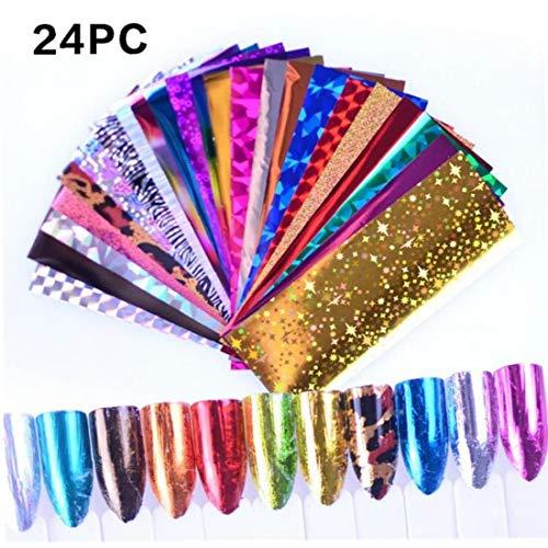 Case&Cover 24 Piezas de Esmalte de uñas con Esmalte de uñas, Transferencia holográfica lámina de Embalaje, de la Etiqueta engomada, Papel Estrellada Esmalte de uñas, Decoración, Esmalte Técnica
