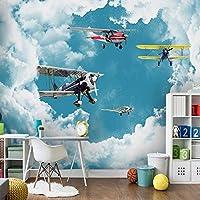 キッズルームのカスタム壁紙現代地中海青空白い雲飛行機ボーイズルーム寝室の装飾壁アート壁画, 400cm×280cm