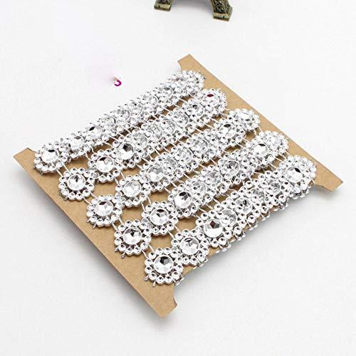 2 meter/stuk 15mm bloem diamant bling kristal lint wrap trim diy thuis bruidstaart partij decoraties goud, zilver v0803, zilver