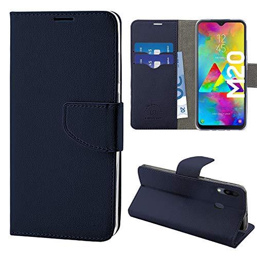 NewTop Cover Compatibile per Samsung Galaxy M20, HQ Lateral Custodia Libro Flip Magnetica Portafoglio Simil Pelle Stand (Blu)