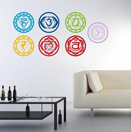 ¡7Pcs / Pack !!! Etiquetas engomadas de la pared del arte del símbolo de la meditación de la yoga de la meditación de Aum de la salud Etiquetas engomadas talladas de la meditación del mantra