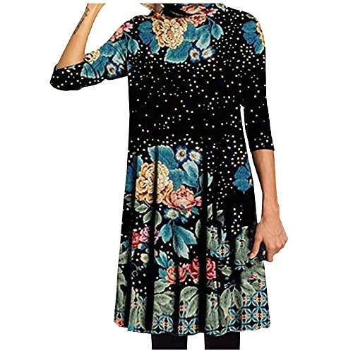 Vestido de Mujer Largo Casual Vestidos Suelto Floral Otoño/Invierno Manga Larga Elegante con Cuello Medio Alto Vestido (Negro, S)