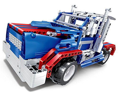 Bo Toys R/C 2 in 1 Sports car and Semi-trailer truck Building Bricks Radio Control Toy, 455 Pcs DIY Kit with USB Rechargeable Battery, Construction Build It Yourself Toys