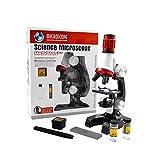 Jiusion Kid Microscopio Ciencia Kits, 100X 400X 1200X Magnificación Trinocular Principiante...