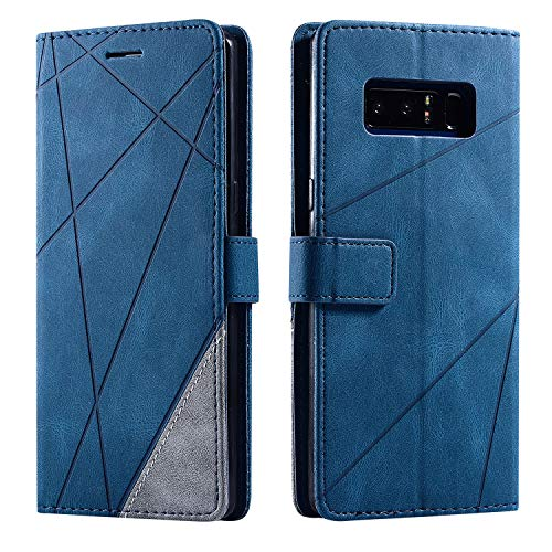Asuwish Galaxy Note 8 Wallet Case,Leather Phone Cases with Credit Card Holder Slot Pockets Kickstand Flip Folio Shockproof TPU Protective Cover for Samsung Glaxay Note8 S8 Women Men Girls Blue