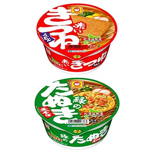 赤いきつね カップ麺 緑のたぬき 北海道限定 赤いきつねうどん 緑のたぬきそば 各1ケース(1箱) マルちゃん うどん 蕎麦 カップめん