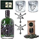Totenkopf Absinth Set | 1x Hamlet Classic Green Absinth | 2x Skull Absinth Gläser | 2x Absinth Löffel | 1x Zuckerwürfel