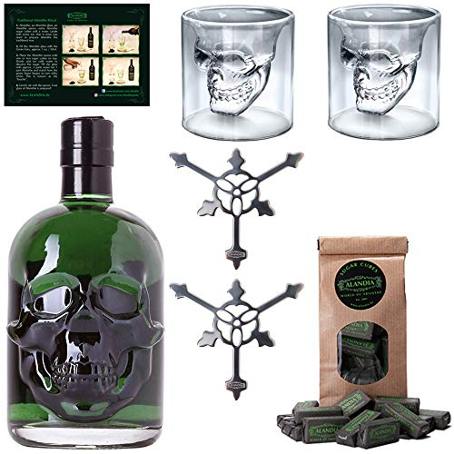 Totenkopf Absinth-Set | 1x Hamlet Classic Green Absinth | 2x Skull Absinth-Gläser | 2x Absinth-Löffel | 1x Zuckerwürfel