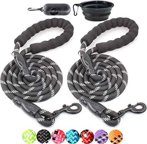 BAAPET 2 Packs 5/6 FT Strong Dog Leash with Comfortable Padded Handle and Highly Reflective Threads Dog Leashes for Small Medium and Large Dogs (5FT-1/2
