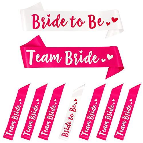 Oblique-Unique® Bride to Be + Team Bride Schärpe Set Junggesellinnenabschied JGA Hochzeit in Weiß...