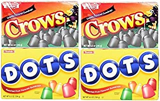 Set of 4 Gummy Candy Dots - 6.5oz per Box - Features Two Flavors Including Original and Crows Black Licorice - Perfect for Movie Night!