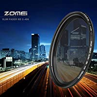 ZOMEI超薄型調整可能な中性密度ND2-ND400フィルター49mmコーティングNDフィルター