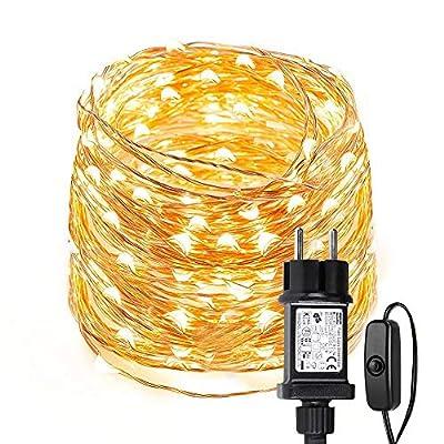 【Cadena Luces de Cobre】10 metros de largo con 100 leds de color alto brillo blanco cálido más 2 metros de cable de alimentación. Enchufar y listo, no es necesario reemplazar la batería, ahorro de energía y protección del medio ambiente, larga vida út...