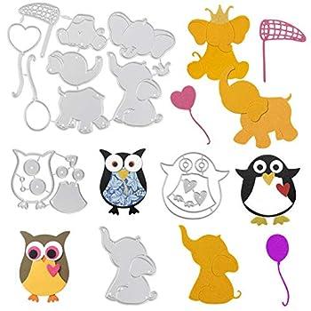 OOTSR Elephant Owl Penguin Metal Die Cuts Animal Die Cuts for Card Making Metal Die Cut Stencil for DIY Crafts Scrapbook Album Paper Card