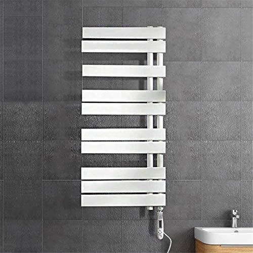 Calentador de pared de baño Calentador de toallas, calentador de toallas, calentador de toalla eléctrica Montado en la pared 570W Recto con termostato convencional Rieles de toalla de toalla de fibra