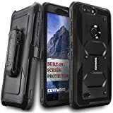 COVRWARE [Aegis Series] case Compatible with ZTE Blade Z Max (Z982) / Sequoia, with Built-in [Screen Protector] Heavy Duty Full-Body Rugged Holster Armor Case [Belt Swivel Clip][Kickstand], Black