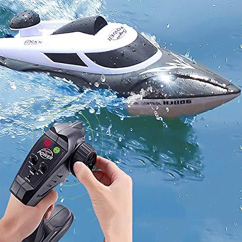 FATSW 3000 mAh Ferngesteuertes Boot mit Licht, High Speed 35 KM/H 2,4 GHz Funkfernsteuerung Warnung vor Schwacher Batterie RC Bootfür Erwachsene & Kinder für Pool & Outdoor(Schwarz Weiß)