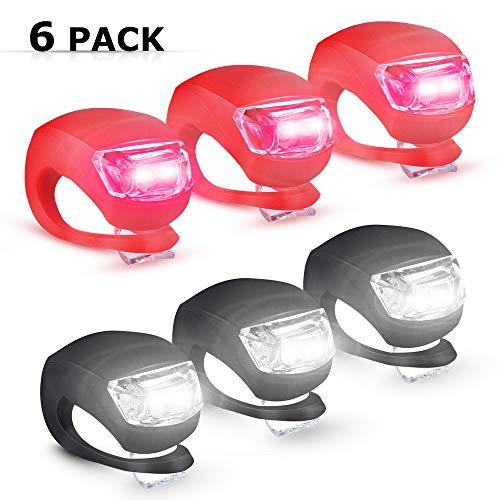 6 Pack Luz de Seguridad LED,luz Trasera de Bicicleta luz de la Bicicleta LED Luz de Seguridad Ciclismo Infantil Silicona con batería de Repuesto Impermeable no Recargables