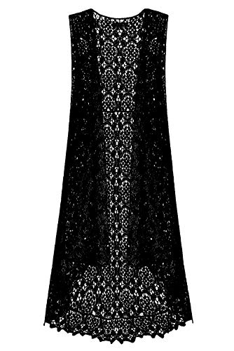 Lace Front Open Sleeveless Top Cardigan Crochet Vest Bikini Cover up Summer Beachwear (Free Size, Black)