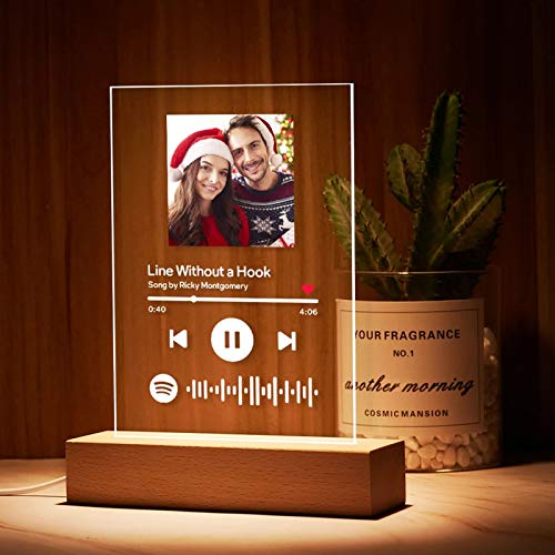 Custom Spotify Code Night Light with Personalised Song & Singer Personalised Engraved Photo Acrylic Music Board Personalised Collection Photo Album Glass Table Decor Gift for Anniversary Her Him Kids