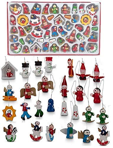 48 Fine Detail Hand Made Traditional Wooden Tree Easter Nativity Play Hanging Ornaments Decorations Xmas Figures Decor