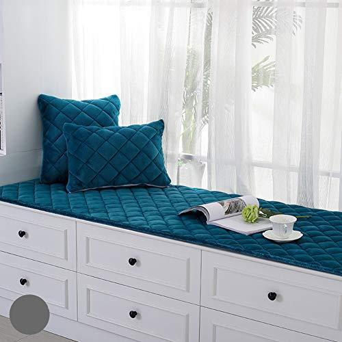 YEARLY Anti-rutsch Bay-Fenster Sitzkissen, Short plüsch Sitzpolster Fensterbank Matte Sofa-Matte Bezug Sofa Tatami Kissen Decke Balkone-matten-Blau 60x180cm(24x71inch)