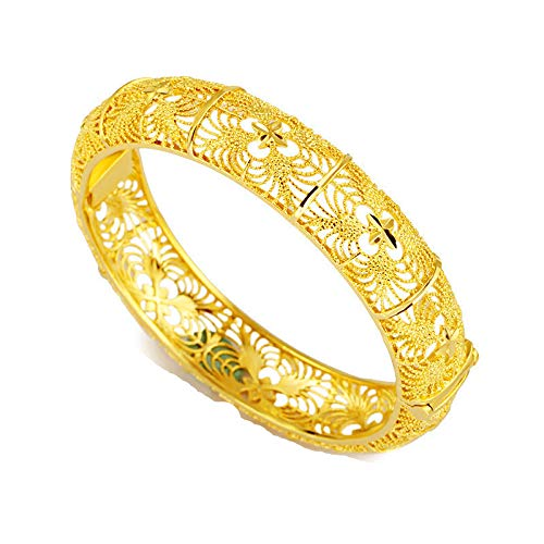 24 K Dubai Gold Bangles Für Frauen Gold Dubai Braut Hochzeit Äthiopischen Armband Afrika Armreif Arabischen Schmuck Gold Charm Kinder Armband