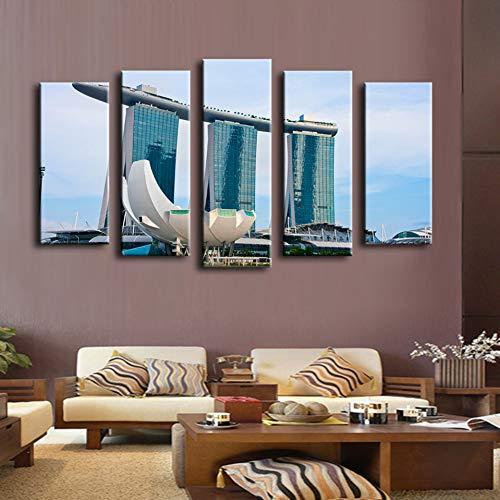 FYSKJDG Leinwand Gemälde fünf Bilder 5 Stücke Buchung Pool Casino Singapur Wandmalerei Für Wohnkultur Ölgemälde Kunstdruck Leinwand, Wandbild (kein Rahmen) 40x60cmx2 40x80cmx2 40x100cmx1