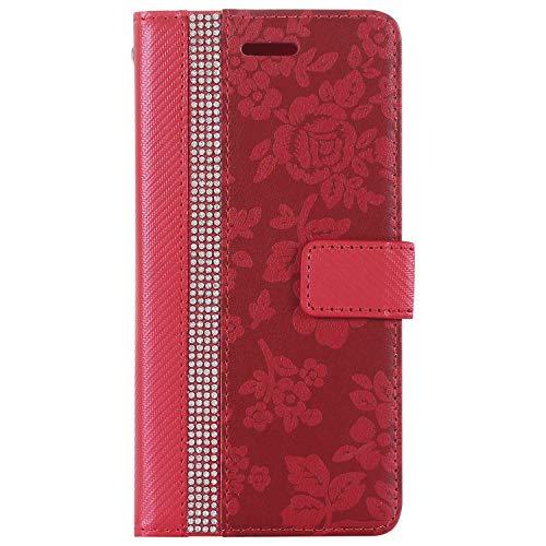 Coque Huawei P8 Lite 2015/2016 Housse, SONWO Etui en Cuir Magnetique Flip Portefeuille Housse avec Fonction Support et Fentes de la Carte pour Huawei P8 Lite 2015/2016, Rouge