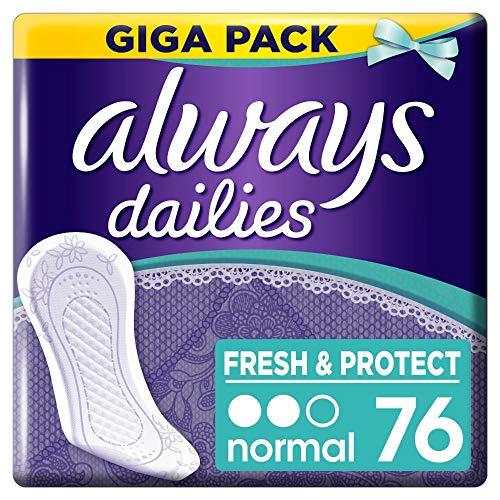Always Dailies Fresh und Protect Normal Slipeinlagen Giga Pack (76 Stück) atmungsaktives Design, saugfähiger Kern und dezenter Duft für Komfort, Trockenheit und Frische den ganzen Tag