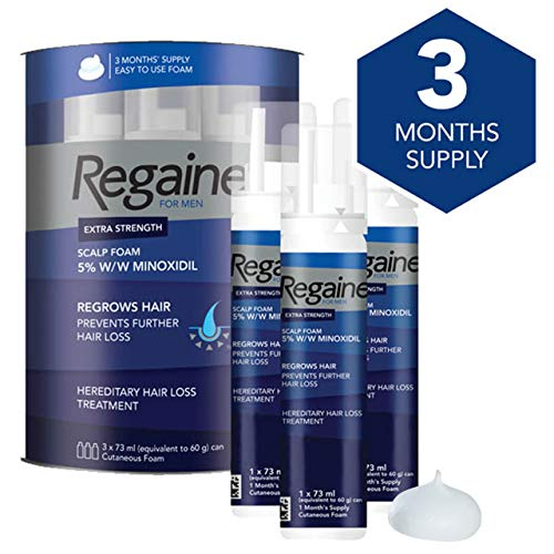 Regaine For Men Extra Strength Scalp Foam - Scientifically Proven To Help Stop Hereditary Hair Loss - Minoxidil Foam for Hair Regrowth - 3 x 73 ml